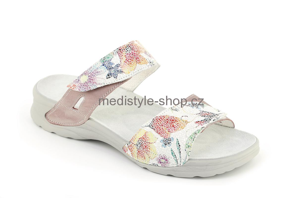 Pantofle DANA potisk zdravotní obuv dámská růžová s potiskem LD-T15 1 K  Medistyle 03b1ed7d89b