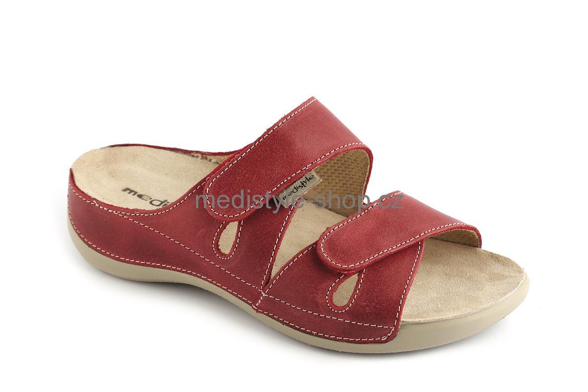 Pantofle ELEN zdravotní obuv dámská červená 3E-V15 (vhodná pro vysoký nárt) 9161894a9a