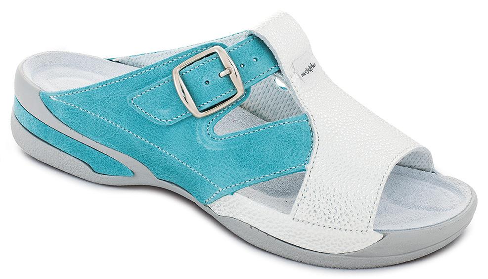 0adf0c2735d6 Pantofle KATRINA zdravotní obuv dámská modrozelená-stříbrná 8K-E17 1-S  Medistyle